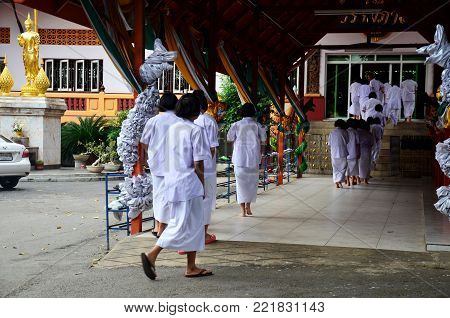 Thai People And Children Ordain As A Nun And Brahmin For Practice The Dharma At Wat Amphawan In Sing