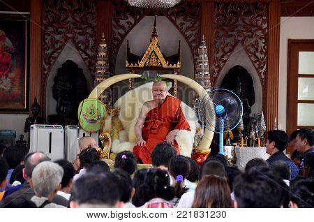 Thai People Praying And Respect With Phra Ratchasuthi Yan Mongkhon (luang Pho Charan Thitathammo) At