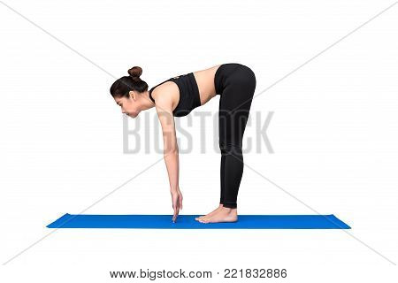 Healthy Woman Exercising Yoga Isolated With Clipping Path On White Background.photo Design For Fitne