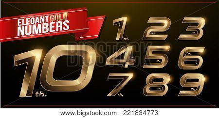 Set of metal numbers alphabet font. golden effect letters on a dark background. 1, 2, 3, 4, 5, 6, 7, 8, 9, 10, vector typeface set
