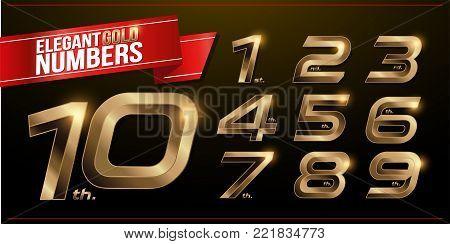 Set of metal numbers alphabet font. golden effect letters on a dark background. 1, 2, 3, 4, 5, 6, 7, 8, 9, 10, vector typeface set