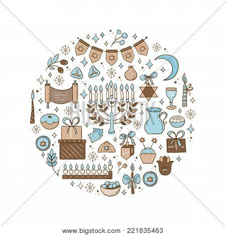 Vector set of Hanukkah design outline elements made in circle. Menorah, wreath, candles, garland, cupcake, gifts, candles, dreidel, confetti, coins oil sufganiyan snowflakes and Jewish star
