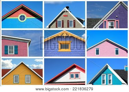 Collage showing a variety of rooftop from colourful houses in magdalen island in Canada poster