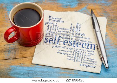self-esteem word cloud - handwriting on a napkin with cup of coffee