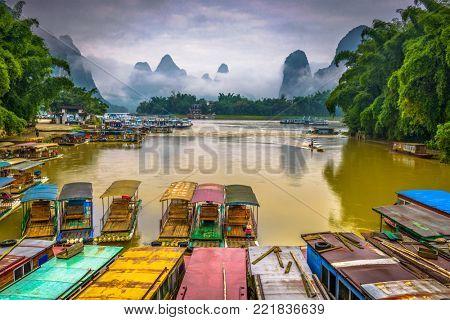 Guilin, Guangxi, China karst mountains.