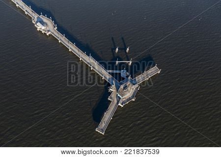 Aerial view of Belmont Pier in Long Beach, California.