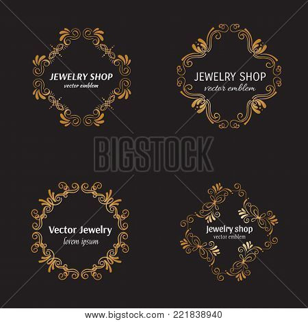 Vector jewelry logo design template in trendy linear style - floral and geometrical gold frame with copy space for text. Decorative concept for wedding service, jewelry shop or luxury product