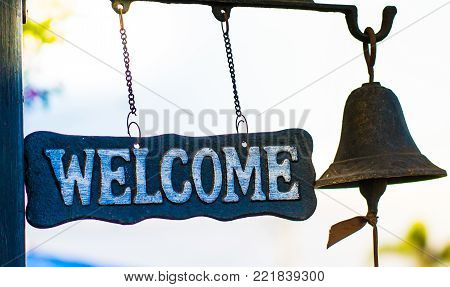 welcome sign background, welcome sign with a bell