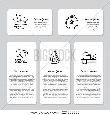 Vector Hand made banners and flyers with text. Hand made icons - symbols or logos of sewing, knit, embroidery, needlework. Perfect for web design.