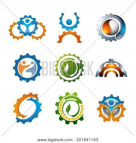 Set of illustration 3d human gear and leaf eco-friendly concept Symbols logo design Template elements