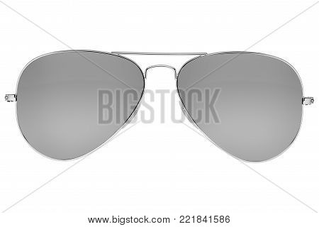 Mirror aviator sunglasses isolated on white background with clipping path