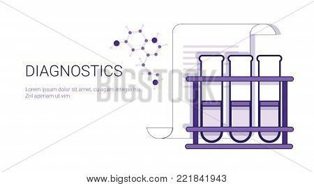 Diagnostics Medical Treatment Business Concept Template Web Banner With Copy Space Vector Illustration