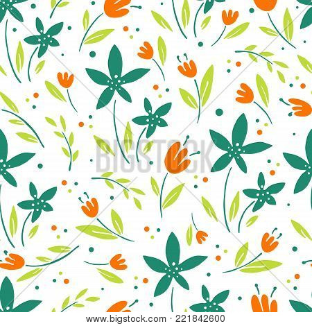 Seamless vector floral pattern, spring, summer backdrop. Hand drawn surface pattern design with flowers in garden. Seamless texture perfect for wallpapers, web page backgrounds, surface textures.