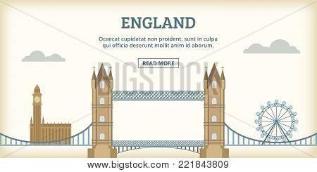 English landmarks banner horizontal concept. Cartoon illustration of english landmarks banner horizontal vector for web