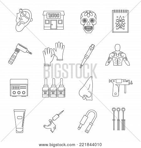 Tattoo parlor icons set. Outline illustration of 16 tattoo parlor vector icons for web