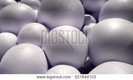 Background of Pile of Inflated White Plastic Balls