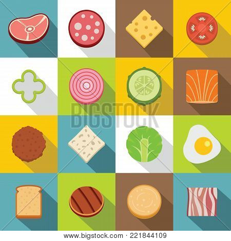 Slice food ingredient icons set. Flat illustration of 16 slice food ingredient vector icons for web