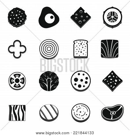 Slice food ingredient icons set. Simple illustration of 16 slice food ingredient vector icons for web
