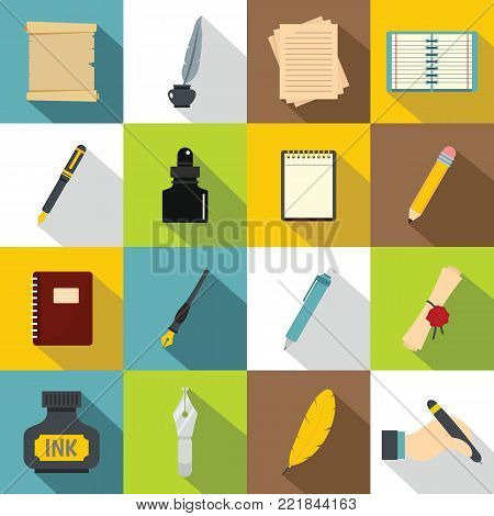 Writing icons set items. Flat illustration of 16 writing items vector icons for web