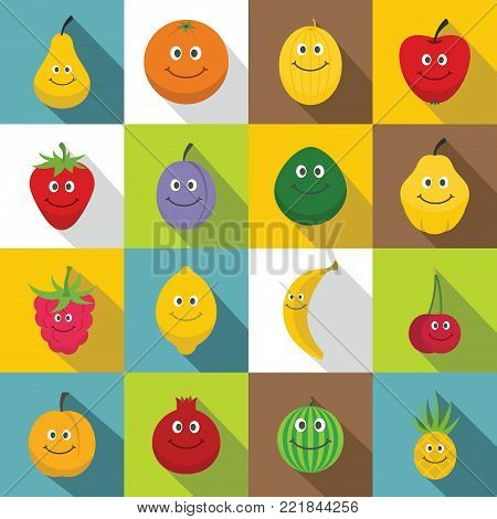 Smiling fruit icons set. Flat illustration of 16 smiling fruit vector icons for web