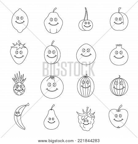 Smiling fruit icons set. Outline illustration of 16 smiling fruit vector icons for web