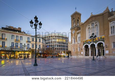 ATHENS, GREECE - JANUARY 9, 2018: Metropolitan cathedral of Athens located in Metropolis square in Athenian old town on January 9, 2018.