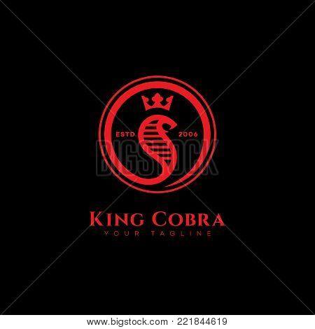 Red round king cobra logo template design. Vector illustration.