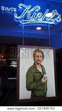 Sydney, Australia - November 03, 2017: Close-up shot of Matthew McConaughey autism campaign poster in Kiehl's window display. Kiehl's is a popular American cosmetics brand retailer.