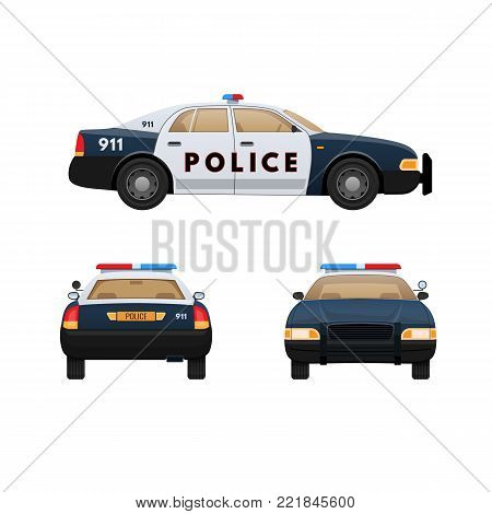 Police car isolated on light background. Patrol car, vehicle with emergency lights system and signal sirens. Front, side and rear view. Vector illustration in flat style.