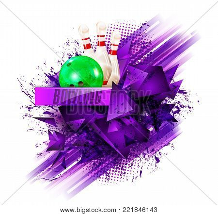 bowling, abstract background, text sports, bowling pins and ball