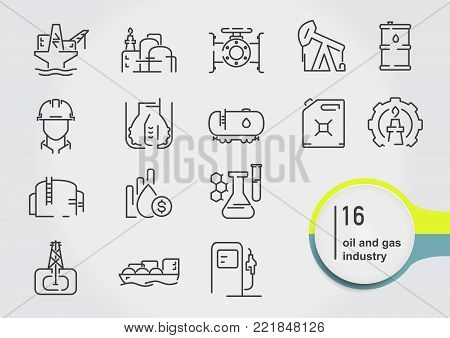 Set of oil and gas line icons. Petroleum industry vector illustration.
