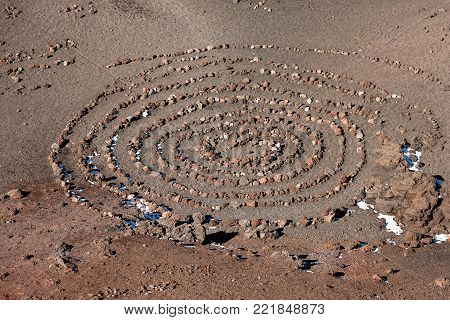 Spiral of rocks on the bottom of the crater of Mount Etna Volcano, Sicily, Catania, Italy (Sicilia, Italia) Europe