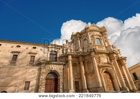 The church of St. Dominic (San Domenico) in the Baroque style. In the small town of Noto, Syracuse, Sicily island, Italy