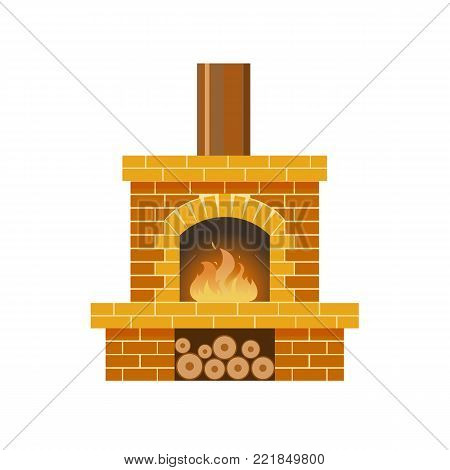 Classic fireplace made of colored bricks, with a natural stone inside and a bright burning flame. Comfortable, cozy, warm, home fireplace. Warm winter christmas interior bonfire. Vector illustration.