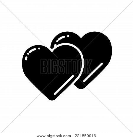 Two hearts line icon, vector simple heart symbol or love sign. Linear logo element for wedding.
