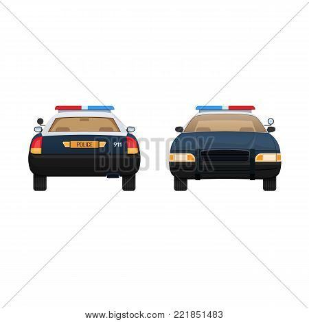 Police car isolated on light background. Patrol car, vehicle with emergency lights system and signal sirens. Front and rear view. Vector illustration in flat style.