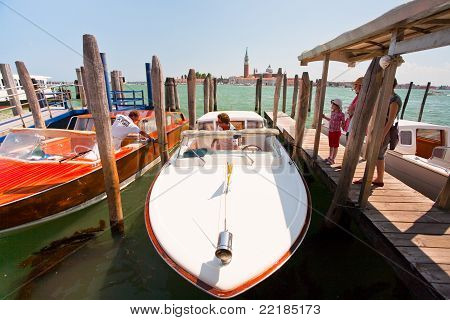Water Taxi  On San Marco Canal In Venice
