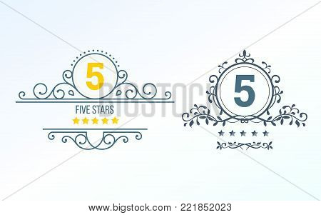 Set, collection of various design elements in the form of vintage rating. Rating and reviews with five stars, forms for ranking the interface, characters from zero to five stars. Vector illustration.