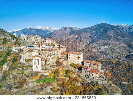 Aerial view on Bairols medieval mountain village, Alpes-Maritimes, France