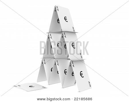 Euro Card Tower. Isolated On The White Background