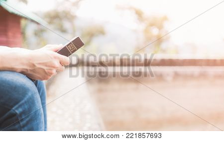 Holy bible,Teenager man holding Holy bible ready for read and have relationship with god faith, spirituality and religion concept.