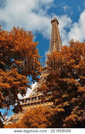 Paris with Eiffel tower in autumn time.