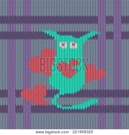 Strange long-eared cute creature with red hearts on the seamless knitted pattern. Knitted woolen pattern of Valentine's Day