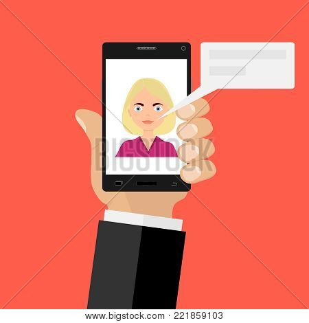 A person on the phone is talking on the Internet. The parties communicate by phone. Flat design, vector illustration, vector.