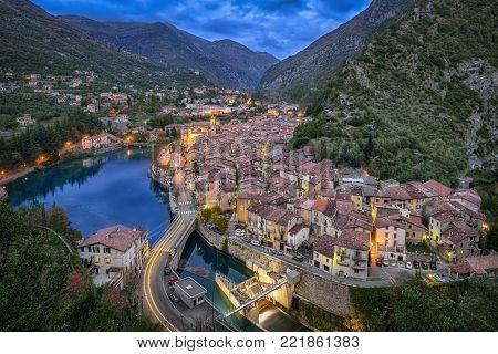 Aerial view on historical town Breil-sur-Roya at dusk, Alpes-Maritimes, France