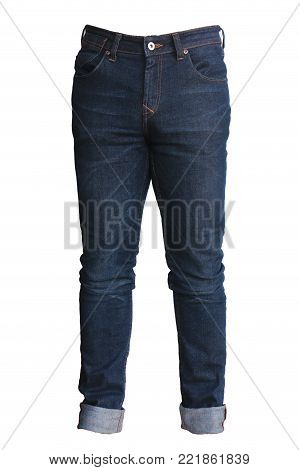 Blue jeans isolated on white background jeans fashion Closeup denim jeans fabric texture background