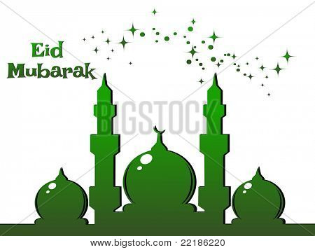 green twinkle star background with mosque