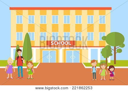 School, children go to school. Pupils. Flat design, vector illustration, vector.