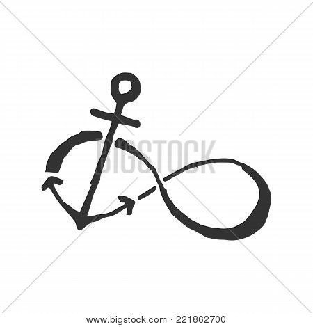 infinity anchor. illustration of nautical anchor. Symbol of sailors, sail, cruise and sea. Travel design. Icon and design element.