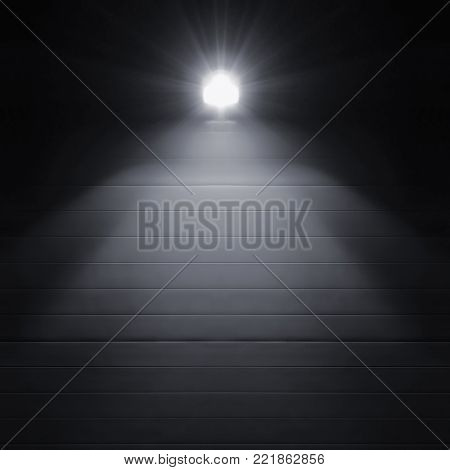 Bright shining lantern lamp light illumination glow shadows at night, rustic textured industrial building wall panels texture pattern, large detailed vertical closeup, copy space background, dark grey black key deserted scene